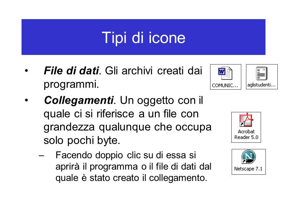 Tipi di icone File di dati. Gli archivi creati dai programmi.