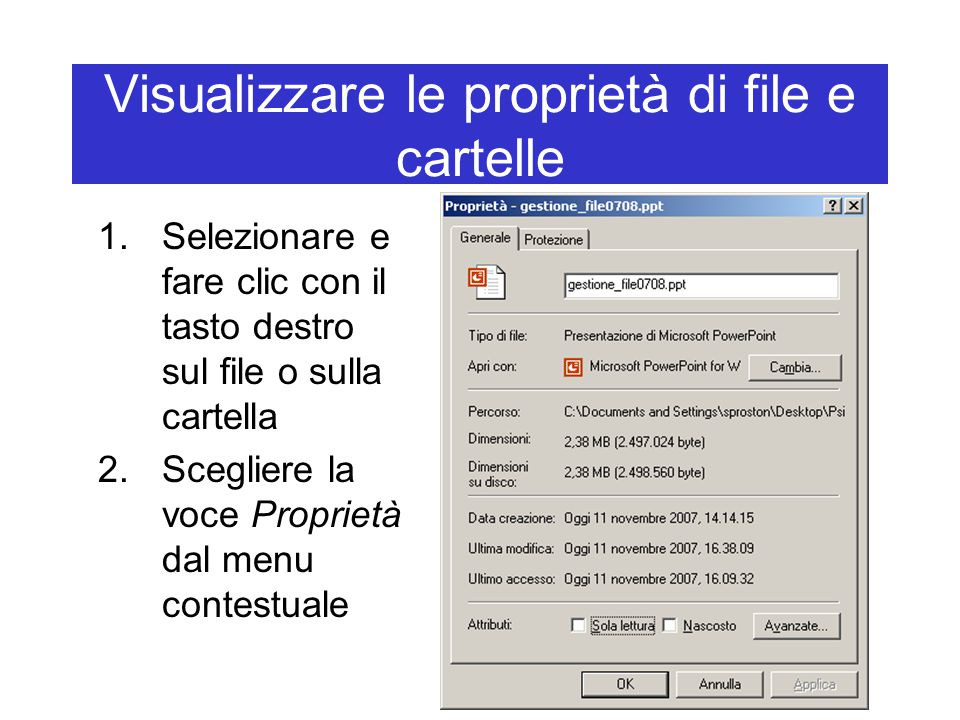 Visualizzare le proprietà di file e cartelle