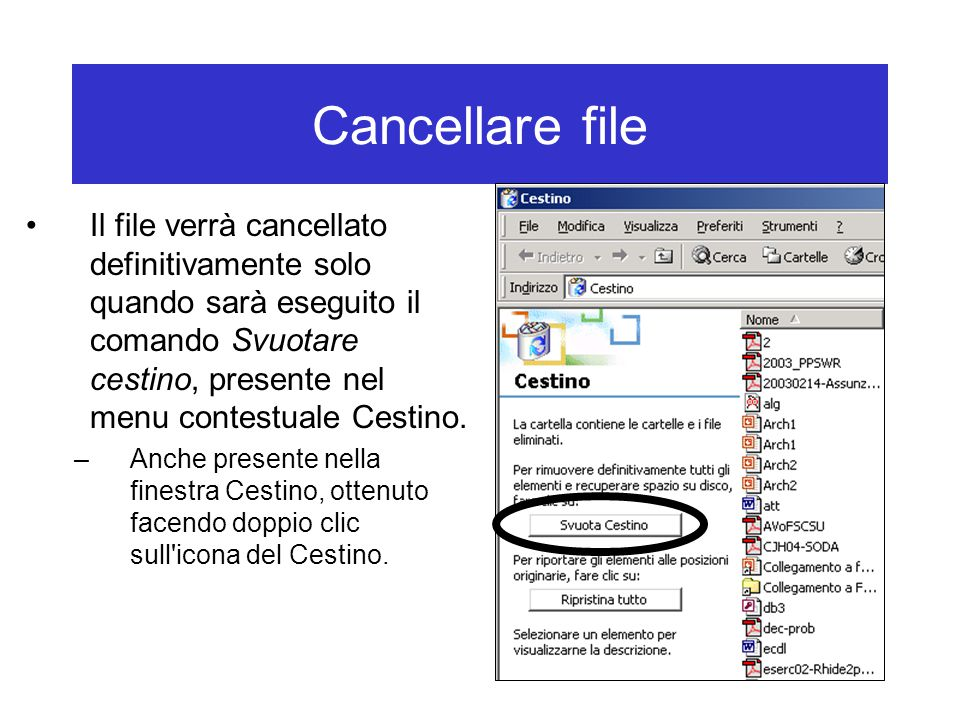Cancellare file