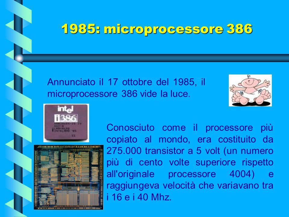 1985: microprocessore 386 Annunciato il 17 ottobre del 1985, il microprocessore 386 vide la luce.
