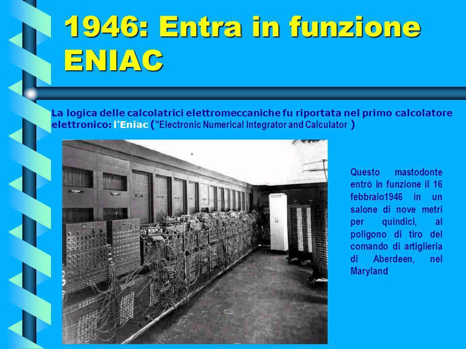 1946: Entra in funzione ENIAC