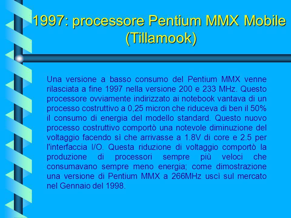 1997: processore Pentium MMX Mobile (Tillamook)