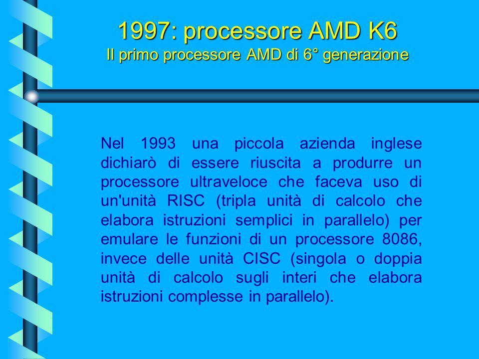 1997: processore AMD K6 Il primo processore AMD di 6° generazione