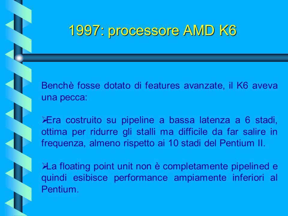1997: processore AMD K6 Benchè fosse dotato di features avanzate, il K6 aveva una pecca: