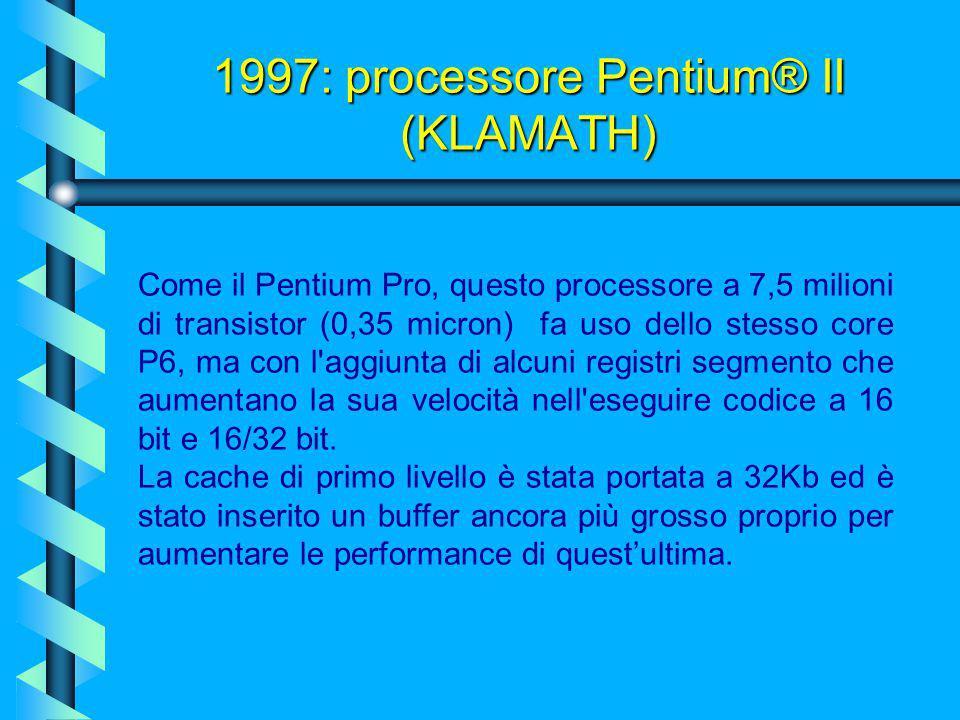1997: processore Pentium® II (KLAMATH)