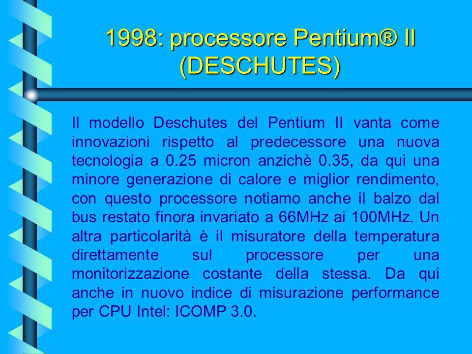 1998: processore Pentium® II (DESCHUTES)