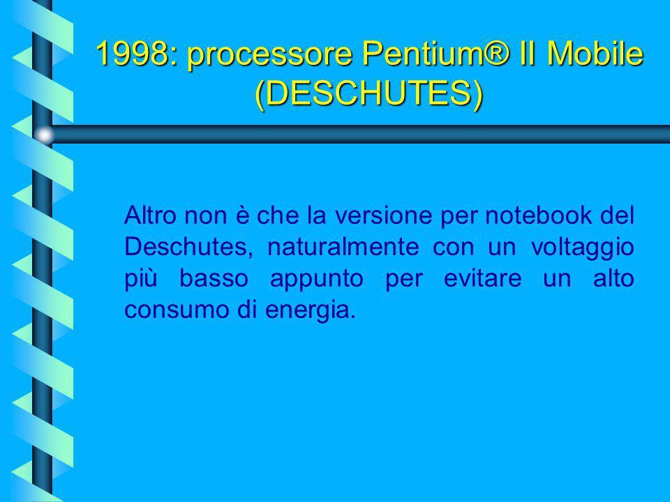 1998: processore Pentium® II Mobile (DESCHUTES)