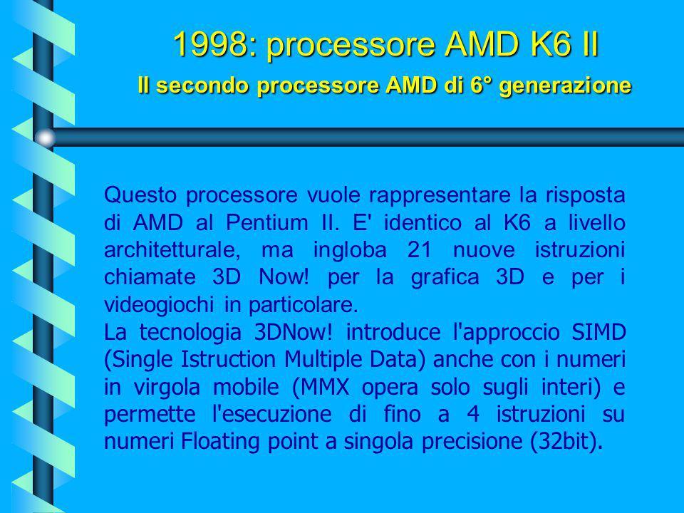 1998: processore AMD K6 II Il secondo processore AMD di 6° generazione