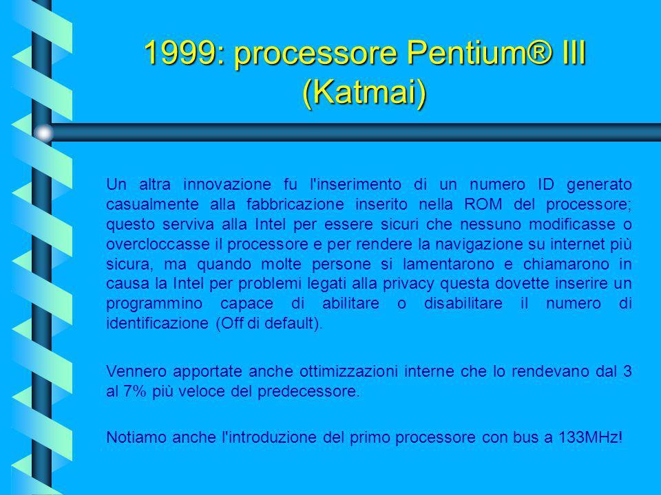 1999: processore Pentium® III (Katmai)