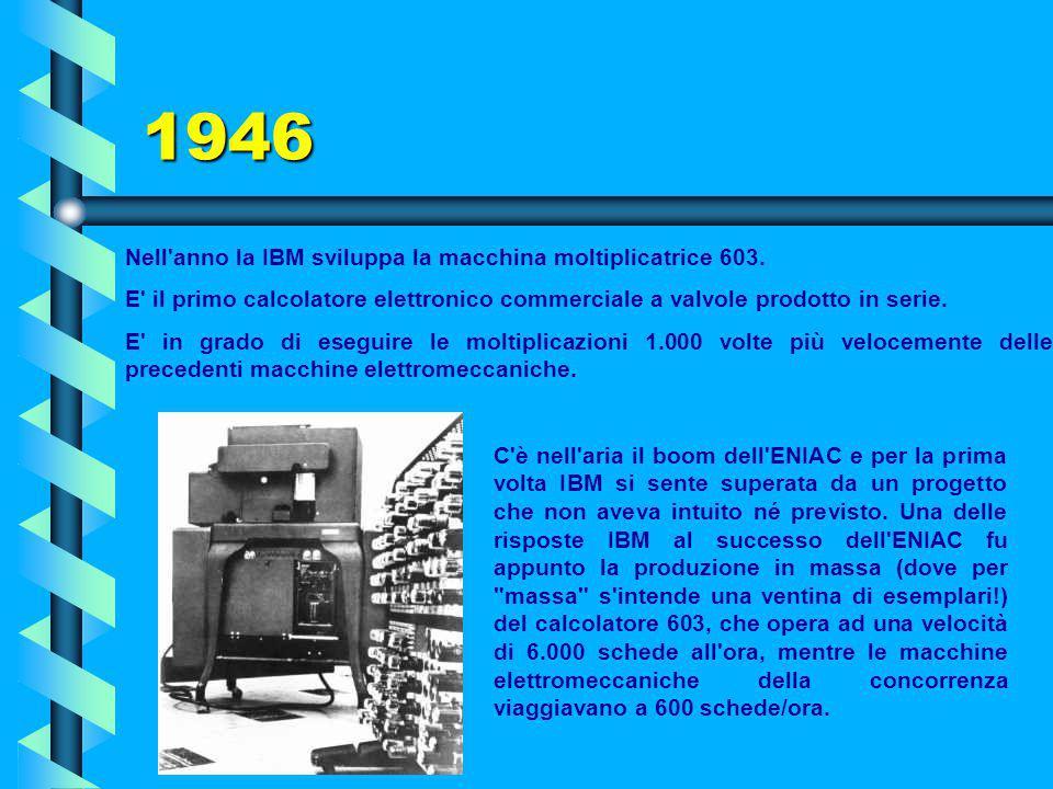 1946 Nell anno la IBM sviluppa la macchina moltiplicatrice 603.