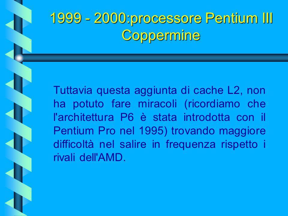 1999 - 2000:processore Pentium III Coppermine