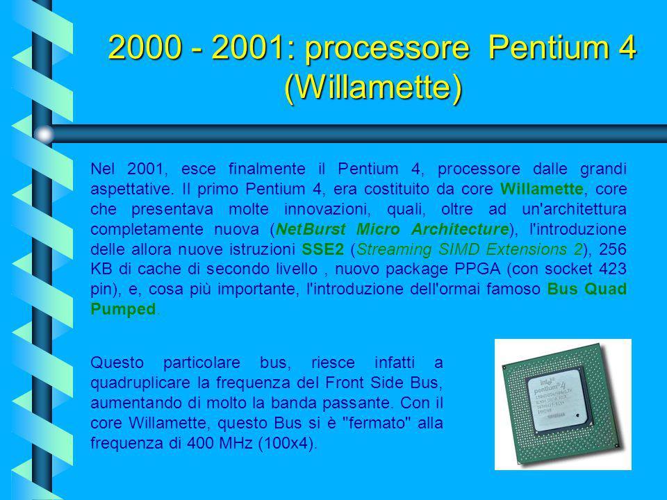 2000 - 2001: processore Pentium 4 (Willamette)