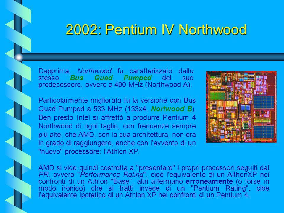 2002: Pentium IV Northwood Dapprima, Northwood fu caratterizzato dallo stesso Bus Quad Pumped del suo predecessore, ovvero a 400 MHz (Northwood A).