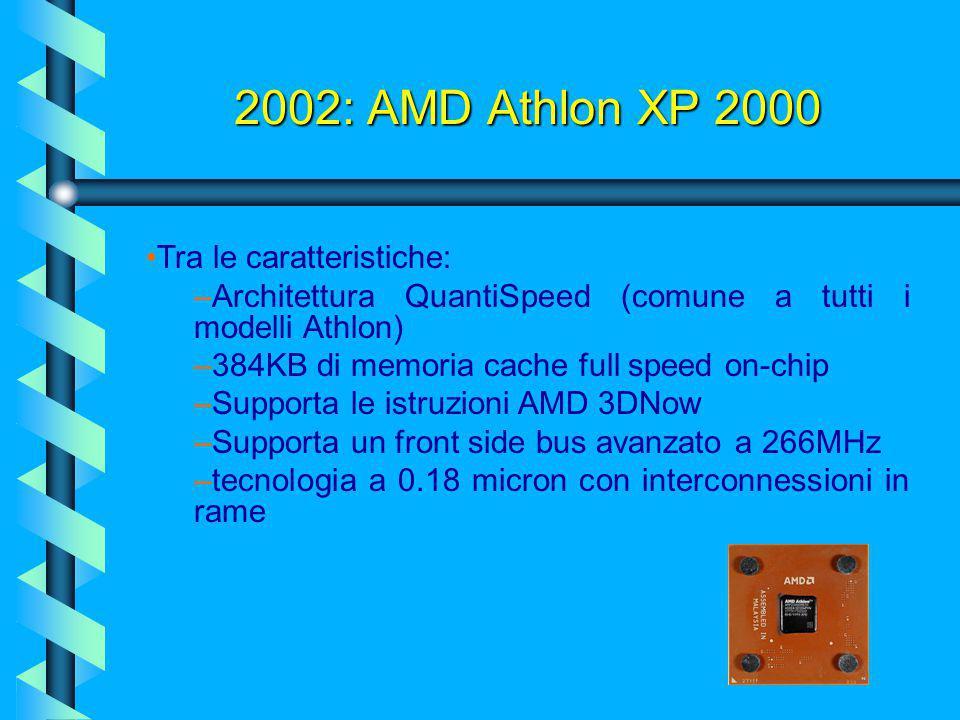 2002: AMD Athlon XP 2000 Tra le caratteristiche: