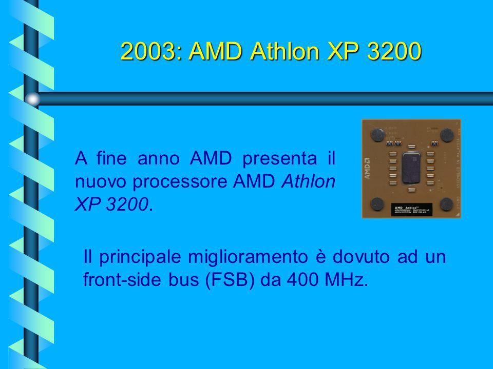 2003: AMD Athlon XP 3200 A fine anno AMD presenta il nuovo processore AMD Athlon XP 3200.