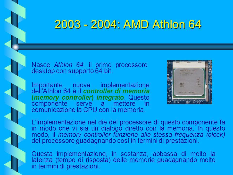 2003 - 2004: AMD Athlon 64 Nasce Athlon 64: il primo processore desktop con supporto 64 bit.