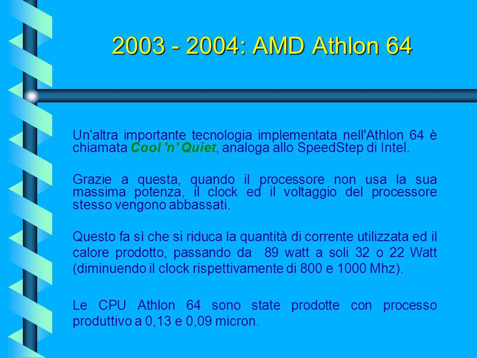 2003 - 2004: AMD Athlon 64 Un altra importante tecnologia implementata nell Athlon 64 è chiamata Cool n Quiet, analoga allo SpeedStep di Intel.