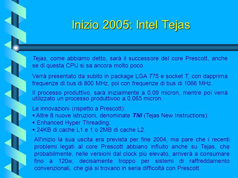 Inizio 2005: Intel Tejas Tejas, come abbiamo detto, sarà il successore del core Prescott, anche se di questa CPU si sa ancora molto poco.