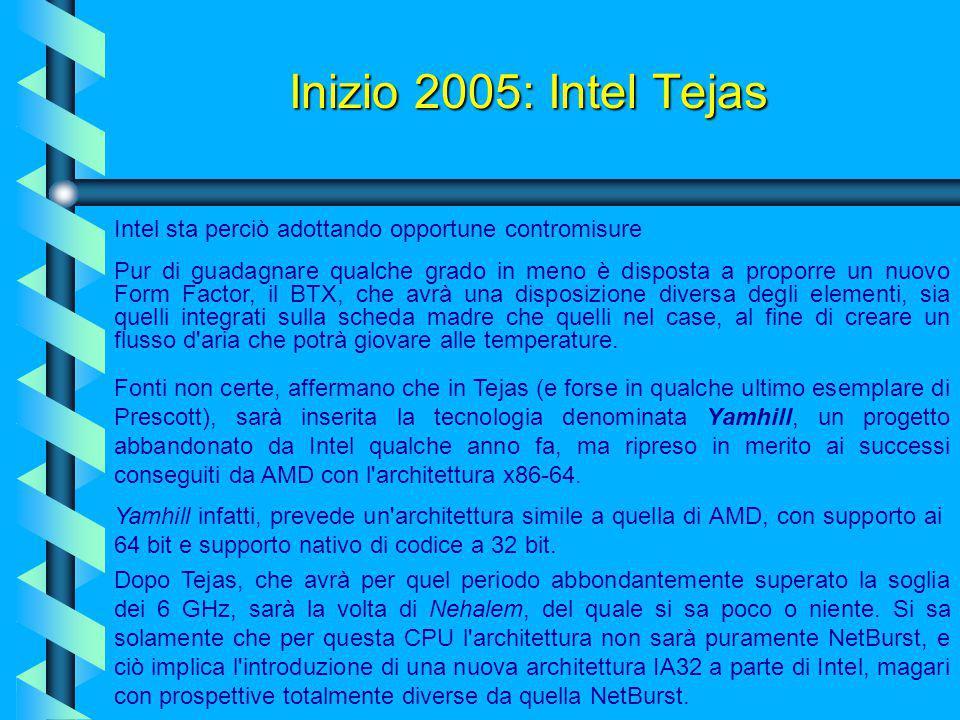 Inizio 2005: Intel Tejas Intel sta perciò adottando opportune contromisure.