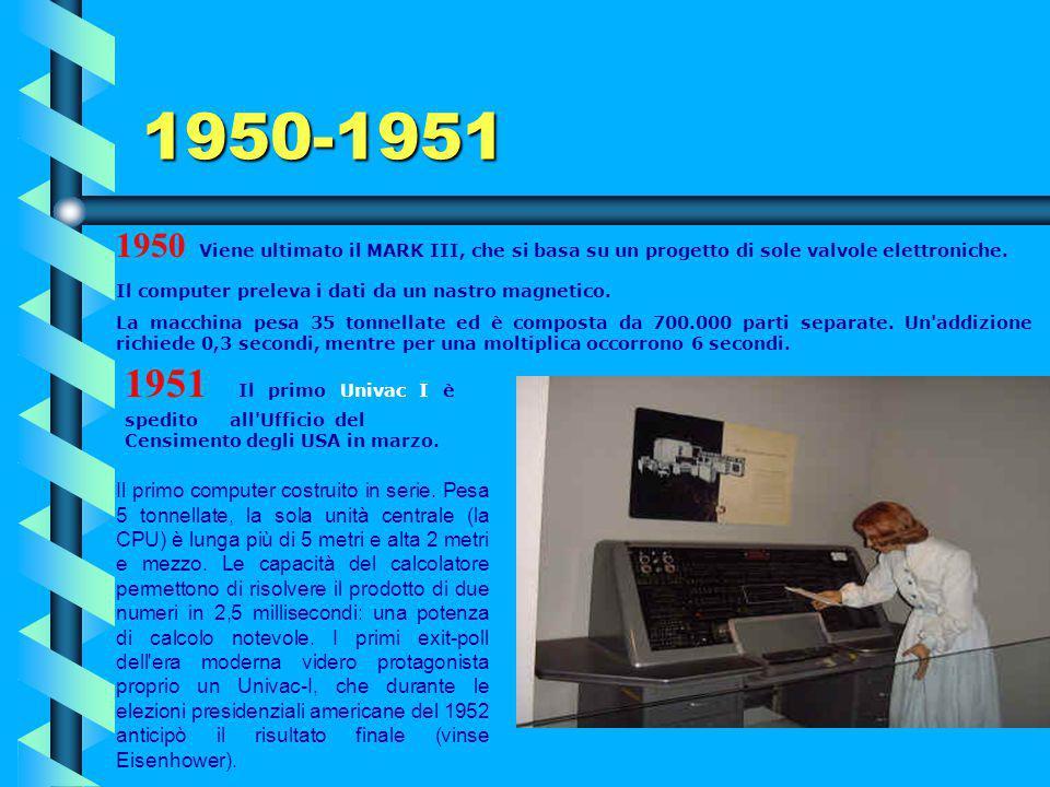 1950-1951 1950 Viene ultimato il MARK III, che si basa su un progetto di sole valvole elettroniche.