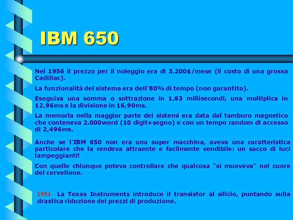 IBM 650 Nel 1956 il prezzo per il noleggio era di 3.200$/mese (il costo di una grossa Cadillac).