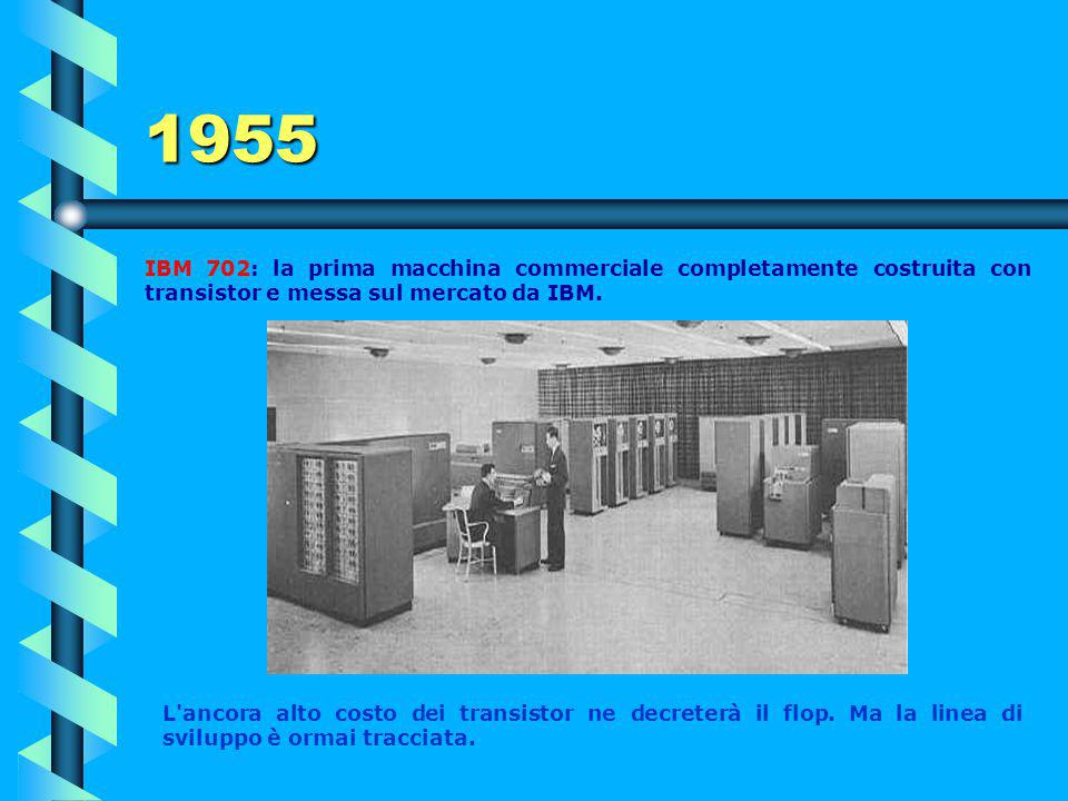 1955 IBM 702: la prima macchina commerciale completamente costruita con transistor e messa sul mercato da IBM.