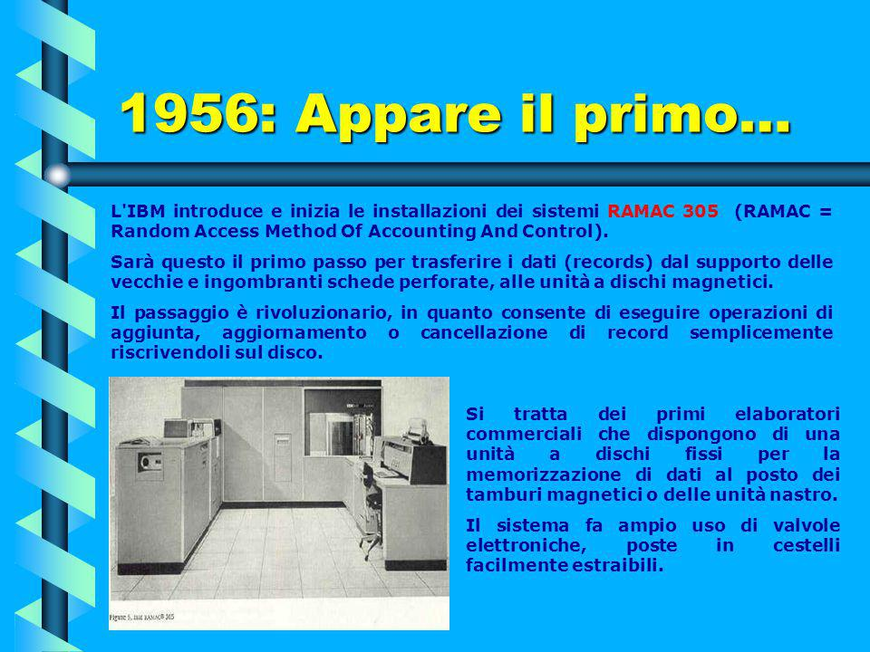 1956: Appare il primo… L IBM introduce e inizia le installazioni dei sistemi RAMAC 305 (RAMAC = Random Access Method Of Accounting And Control).