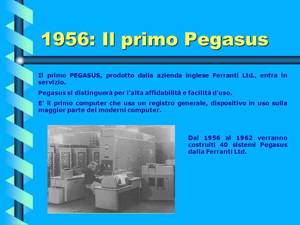 1956: Il primo Pegasus Il primo PEGASUS, prodotto dalla azienda inglese Ferranti Ltd., entra in servizio.