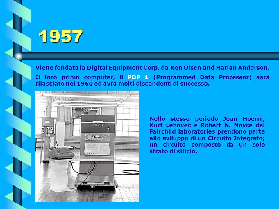 1957 Viene fondata la Digital Equipment Corp. da Ken Olsen and Harlan Anderson.