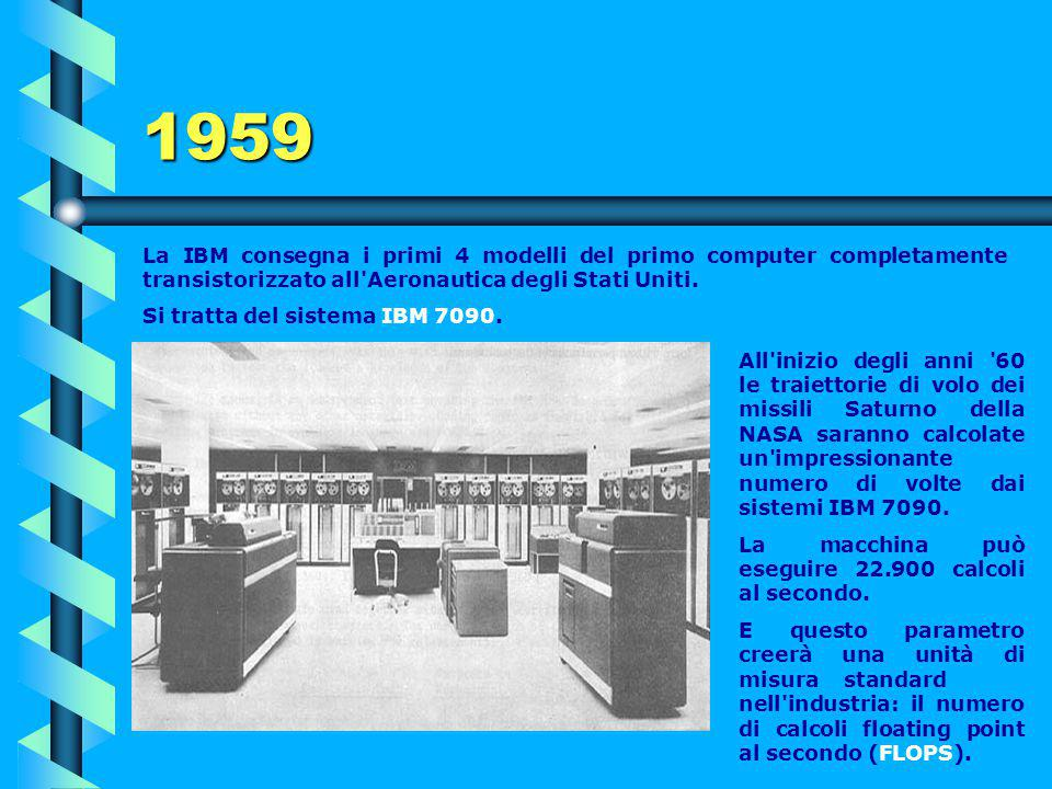 1959 La IBM consegna i primi 4 modelli del primo computer completamente transistorizzato all Aeronautica degli Stati Uniti.