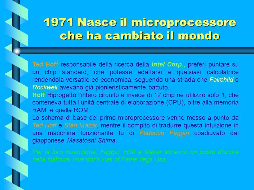 1971 Nasce il microprocessore che ha cambiato il mondo