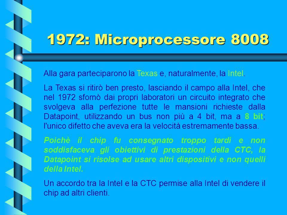 1972: Microprocessore 8008 Alla gara parteciparono la Texas e, naturalmente, la Intel.