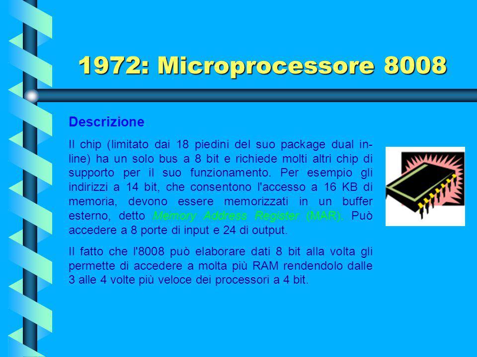 1972: Microprocessore 8008 Descrizione