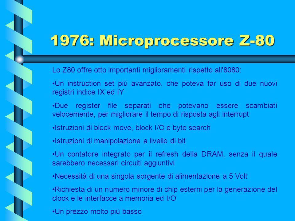 1976: Microprocessore Z-80 Lo Z80 offre otto importanti miglioramenti rispetto all 8080: