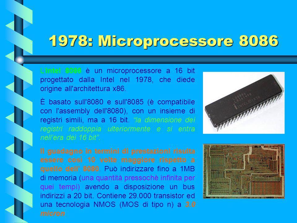 1978: Microprocessore 8086 L'Intel 8086 è un microprocessore a 16 bit progettato dalla Intel nel 1978, che diede origine all architettura x86.