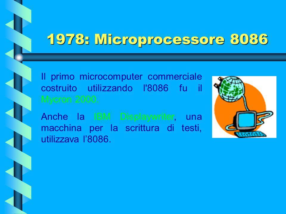 1978: Microprocessore 8086 Il primo microcomputer commerciale costruito utilizzando l 8086 fu il Mycron 2000.