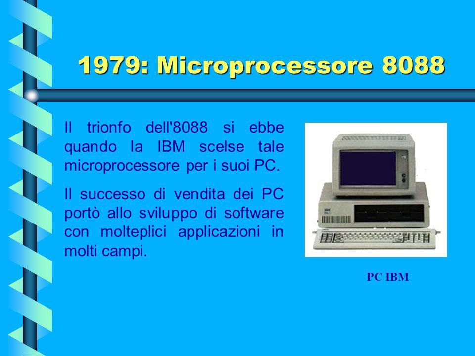 1979: Microprocessore 8088 Il trionfo dell 8088 si ebbe quando la IBM scelse tale microprocessore per i suoi PC.
