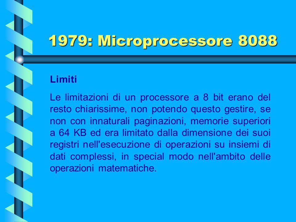 1979: Microprocessore 8088 Limiti