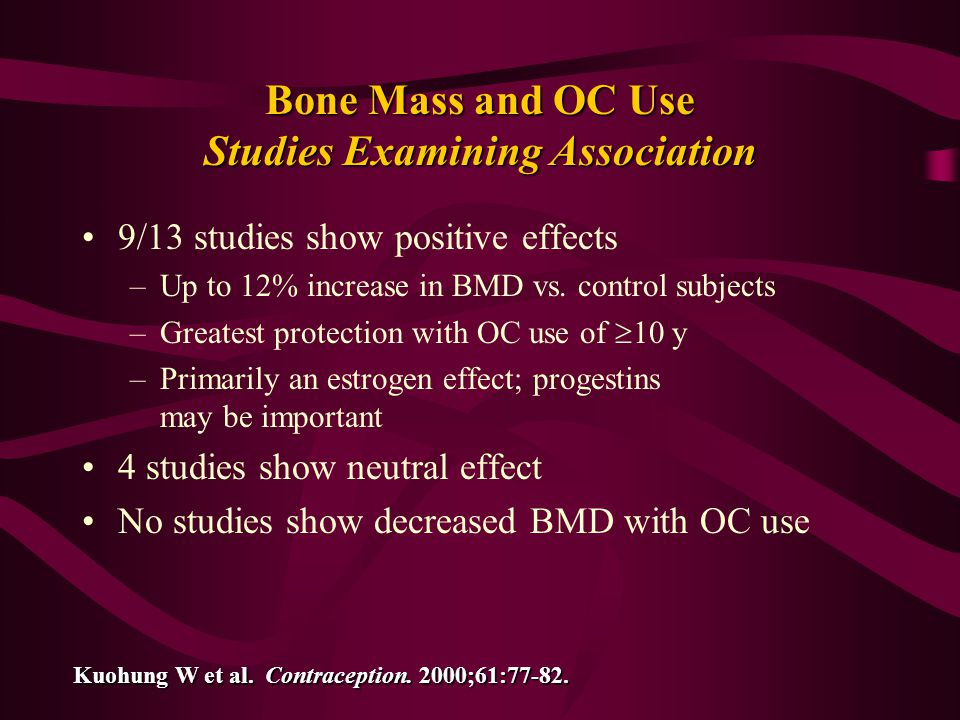 Bone Mass and OC Use Studies Examining Association
