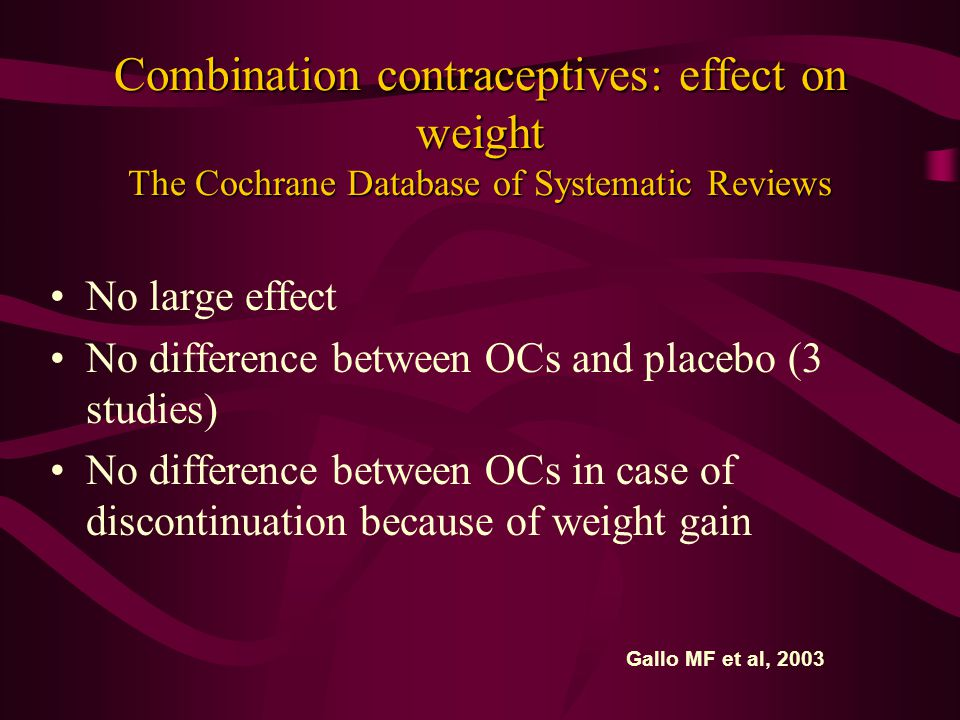 Combination contraceptives: effect on weight The Cochrane Database of Systematic Reviews