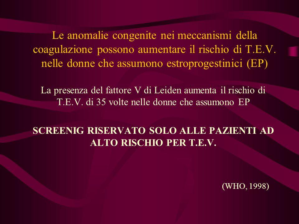 SCREENIG RISERVATO SOLO ALLE PAZIENTI AD ALTO RISCHIO PER T.E.V.