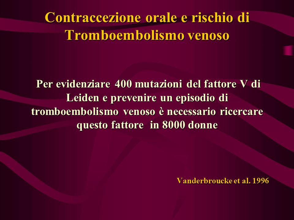 Contraccezione orale e rischio di Tromboembolismo venoso Per evidenziare 400 mutazioni del fattore V di Leiden e prevenire un episodio di tromboembolismo venoso è necessario ricercare questo fattore in 8000 donne Vanderbroucke et al.