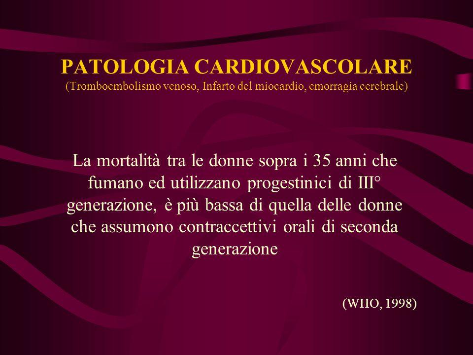 PATOLOGIA CARDIOVASCOLARE (Tromboembolismo venoso, Infarto del miocardio, emorragia cerebrale)