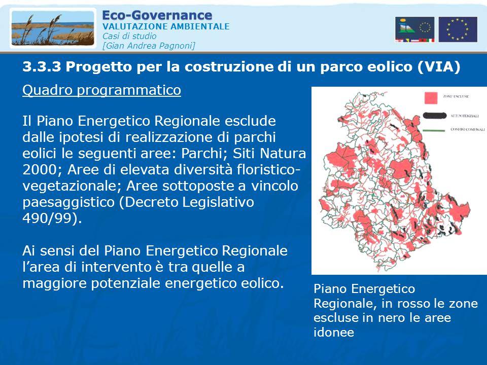 3.3.3 Progetto per la costruzione di un parco eolico (VIA)