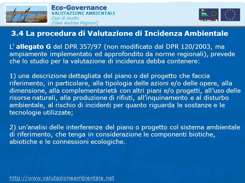 3.4 La procedura di Valutazione di Incidenza Ambientale