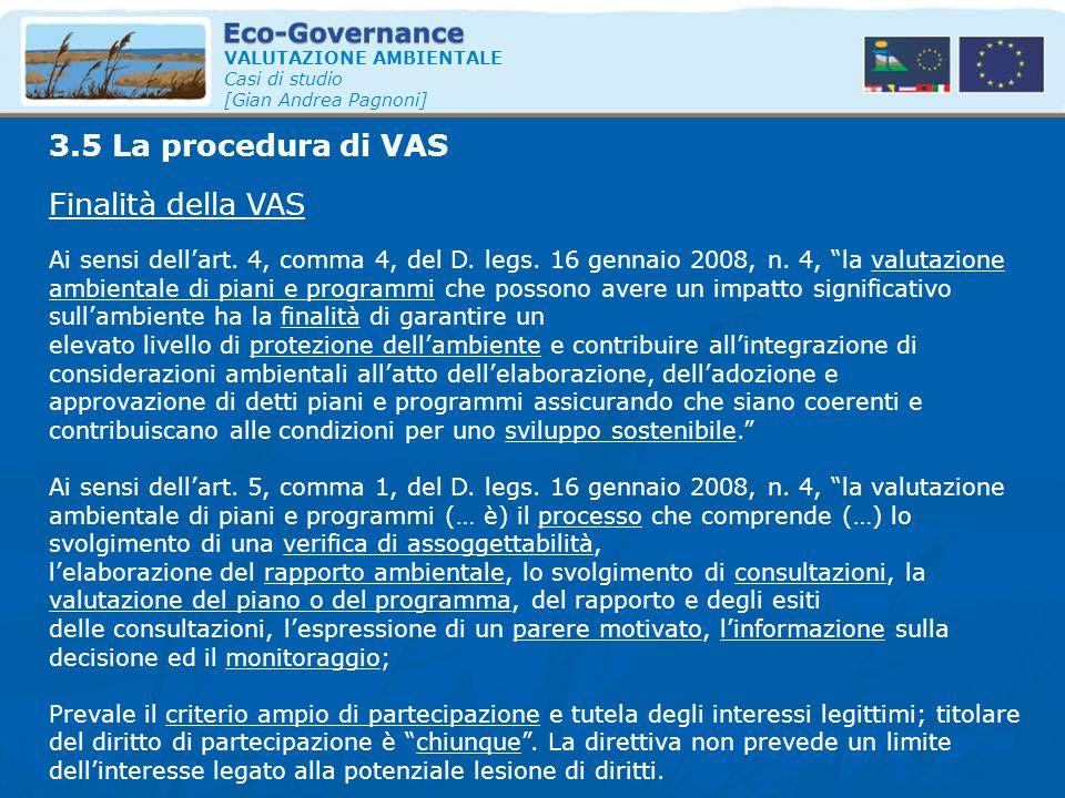 3.5 La procedura di VAS Finalità della VAS