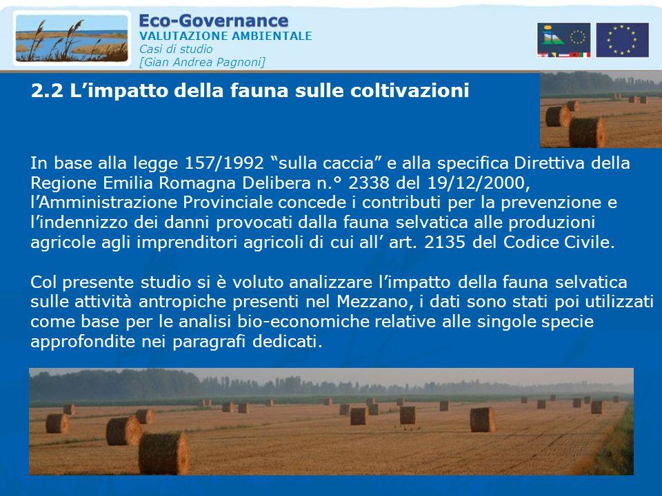 2.2 L'impatto della fauna sulle coltivazioni