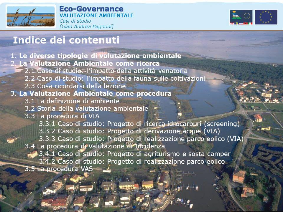 Indice dei contenuti 1. Le diverse tipologie di valutazione ambientale