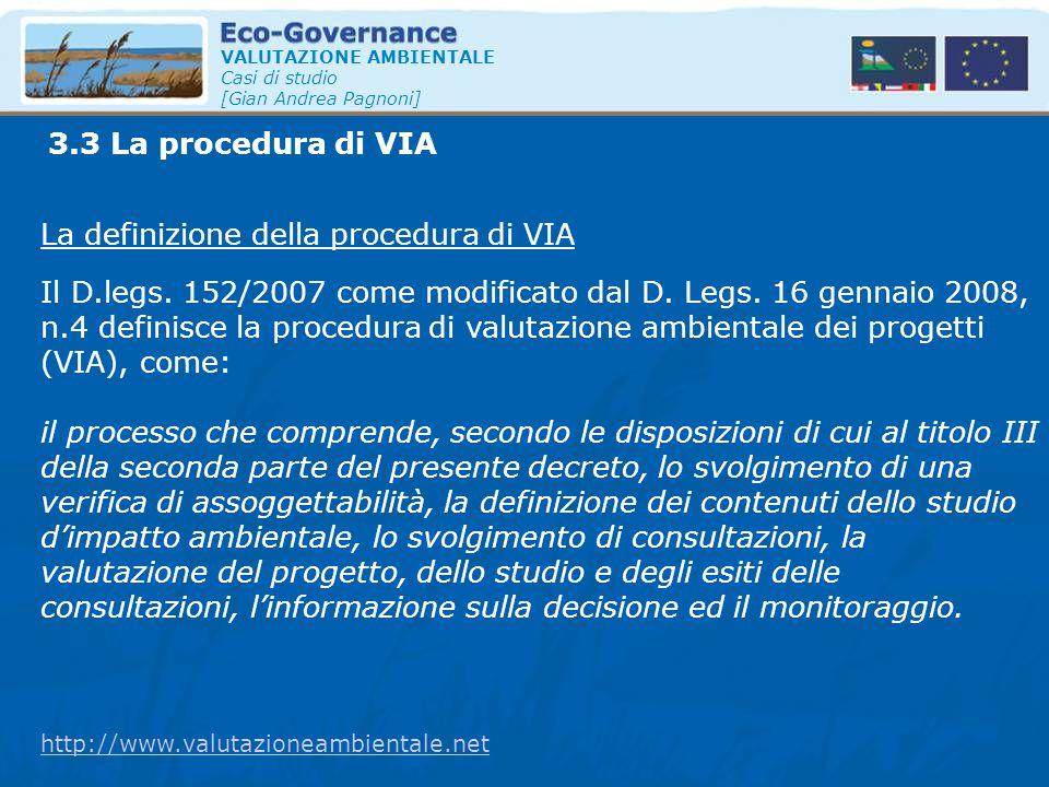 La definizione della procedura di VIA
