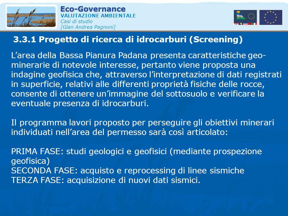 3.3.1 Progetto di ricerca di idrocarburi (Screening)